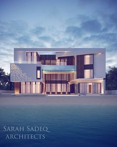 Sarah Sadeq architects the palms Dubai Modern Architecture House, Facade Architecture, Residential Architecture, Facade Design, Exterior Design, Modern Villa Design, House Elevation, Facade House, Modern Exterior