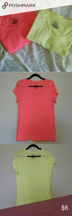 Neon Tee Bundle Hot coral & Neon yellow lightweight, semi-sheer tees. Very gently worn and in great condition. Great for summer! Hits about mid hip. Soft and fun and the price can't be beat! Bundle to save 20%! No Boundaries Tops Tees - Short Sleeve