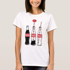 Coca-Cola Sipping On Coke T-shirt, Women's, Size: Adult L, White Coca Cola Gifts, Coca Cola Shop, Coca Cola Decor, Coca Cola Merchandise, Coca Cola Kitchen, Lip Logo, Shirts For Girls, Wardrobe Staples, Cool Shirts