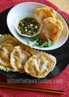 CHINESE DIM SUM -- Yin Yang Vegetable Pockets.  No meat.  Fun to have two styles of dumplings -- one soft and one crispy, with same filling.
