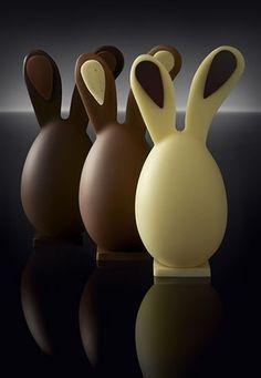 Trio de lapins en chocolat
