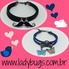 Receita de fofura: pegue um pouco de bom humor, misture com delicadeza e envolva tudo com um pedacinho de couro sintético e amor aos animais. Pronto!  Pulseira Mustache Bigode - Preta e Pulseira Borboleta - Azul e Couro Sintético por R$ 25,00 cada. Te espero na loja! www.ladybugs.com.br ou segue o link na bio  #acessóriosfemininos #acessorios #bijuteria #bijuterias #bijoux #bijuteriaonline #exclusividade #novidades #trendalert #moda #tendencia #look #caraguatatuba #jundiai #puls
