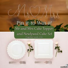 Pin it to Win it!  - Mr. & Mrs. Twisted Wire Cake Topper http://www.confetti.co.uk/shop/product/mr-and-mrs-twisted-wire-cake-topper  - Newlywed Cake Ceremony Set http://www.confetti.co.uk/shop/product/newlywed-cake-ceremony-set