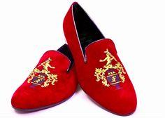 red velvet slippers