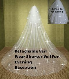 Ivory Wedding Veil 2 Tier Crystal Cathedral Bridal - detachable long tier £28