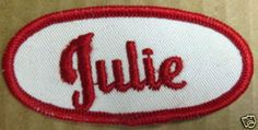 JULIE Name PATCH for Shirt or Jacket cloth tag, Uniform Name Patches, Letter J, Girls Out, Initials, Give It To Me, Jacket, Tags, Shirt, Clothes