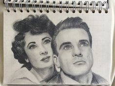 Elizabeth Taylor and Montgomery Clift Sketch Montgomery Clift, Elizabeth Taylor, Sketch, Sketch Drawing, Sketches, Tekenen, Draw