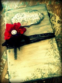 Wedding Guest Book Vintage Elegant Black Red by ShabbyScrap