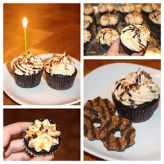 Samoa Cupcakes in regular and mini.  Link to original recipe through a link in my blog.  These cupcakes are a winner!! Juliebakes.blogspot.com