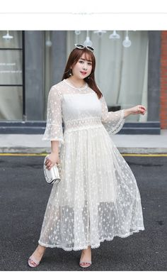 e7a7ad3158 ... Buy Women Plus Size Summer 2018 Sundress Casual Sexy Dress Solid Lace  Above Knee Mini Flare Sleeve Natural O neck White Vestido from Reliable  Dresses ...