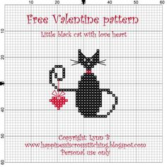 Valentine scissor fob, Little Black Cat with Love Heart, designed by Happiness is Cross Stitching blogger @Lynn B.