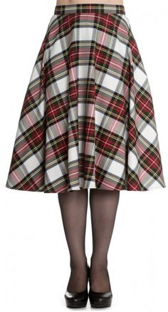 The Doralee 50's Skirt in Stewart Tartan easily ups your style game. This timeless shape and sophisticated stewart white tartan pattern are the perfect combination.