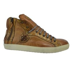 Calzoleria Toscana 6291 Cognac Leather & Croc Sneaker