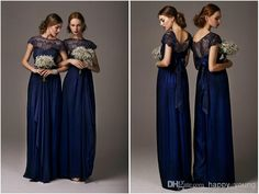 Wholesale Bridesmaid Dress - Buy 2014 Bridesmaid Dresses with Crew Short Sleeve Dark Blue Chiffon Lace Ruffles Floor Length Long Bridals Gowns For Wedding Party, $125.0   DHgate