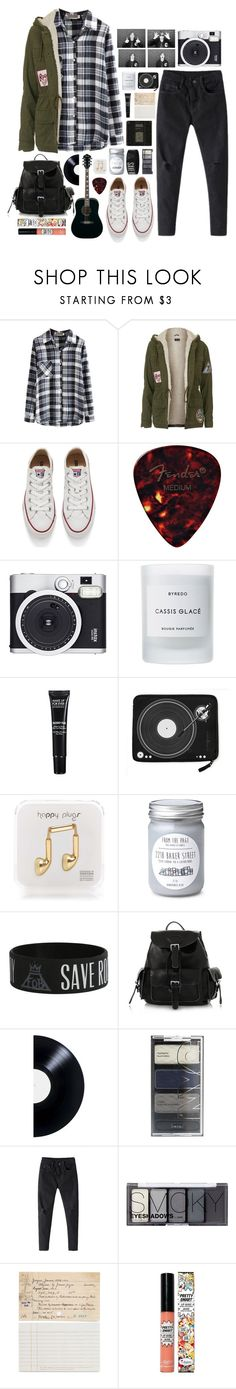 """Beautiful Halo"" by ellac9914 ❤ liked on Polyvore featuring Topshop, Converse, Retrò, Byredo, MAKE UP FOR EVER, Happy Plugs, H&M, Chronicle Books and TheBalm"
