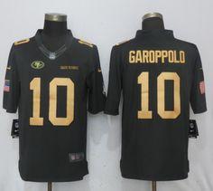 3b54702d6 Men San Francisco 10 Garoppolo Gold Anthracite Salute To Service Nike  Limited NFL Jerseys