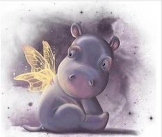 A cute baby hippo with wings - illustration by Anne Patzke Cute Hippo, Baby Hippo, Hippo Tattoo, Paperclay, Hippopotamus, Cute Illustration, Mobile Wallpaper, Fairy Wallpaper, Cute Cartoon