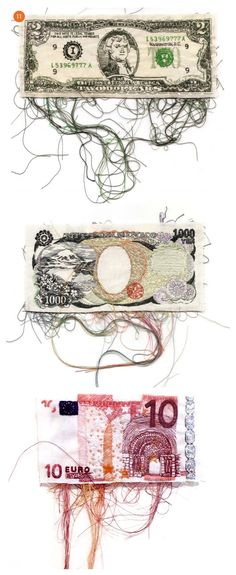 Embroidered currency --- could do this with tickets or leaflets or something
