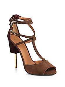 Givenchy - Marzia Suede & Shearling T-Strap Sandals