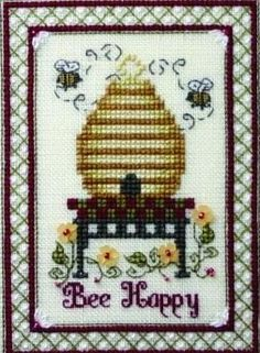 Bee Happy ia the title of this cross stitch pattern from The Bee Company.