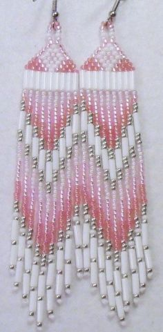 Rose Pink Earrings, Native American Indian Style Inspired, Pretty Pink Fringed Beaded Earrings, Pink and White Jewelry, Medium Length Beaded Earrings Native, Beaded Earrings Patterns, Native Beadwork, Jewelry Patterns, Beading Patterns, Seed Bead Jewelry, Seed Bead Earrings, Beaded Jewelry, Seed Beads