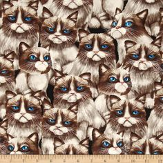 Timeless Treasures Moody Cat Natural from @fabricdotcom  Designed for Timeless Treasures, this cotton print fabric is perfect for quilting, apparel and home decor accents. Colors include shades of brown, natural, pink, blue and black.