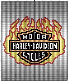 Inspiration Photo of Harley Davidson Crochet Hat Pattern - Cross Stitch - Brands - Senin Favorin Easy Cross Stitch Patterns, Cross Stitch For Kids, Simple Cross Stitch, Needlepoint Patterns, Afghan Crochet Patterns, Quilt Patterns Free, Crochet Afghans, Knitting Patterns, Graph Crochet