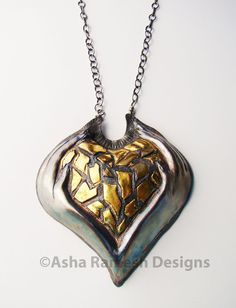Title: 'Holding It Together'.   Keum Boo Necklace: Fine Silver, 24K Gold, Sterling Silver - Chasing & Repousse