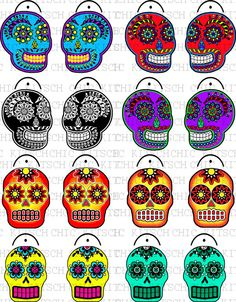 Bright Colored Sugar Skull Charms Digital Pictures to Print on Shrink Plastic Film