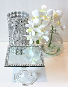 Image result for Rhinestone orbs on tall silver candlesticks