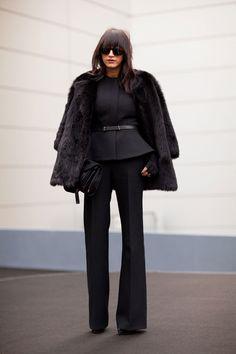 A black suit and fur topper is utterly elegant.    #streetstyle #newyorkfashionweek #fashion #fashionweek #style