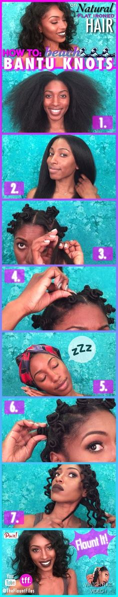 BANTU KNOTS ON NATURAL FLAT IRONED HAIR