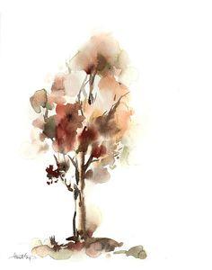 Tree watercolor painting art print