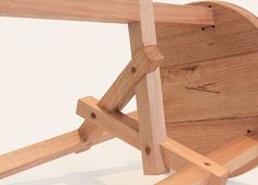 Moo Stool handmade by Kenan Wang for Evie Group. Interlocking Chinese joinery detail.