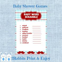 Mustache Baby Shower Word Scramble With Answers Little Man Baby Word Scramble Baby Shower Game- Instant Download - Deep Red and Light Blue #mustachebabyshower #wordscramblebabyshower #babyshowergames