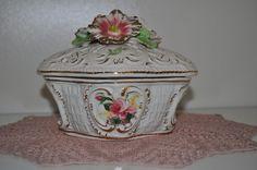 Porzellan Deckel-Dose, gold, Blumen, Historismus in Antiquitäten & Kunst, Porzellan & Keramik, Porzellan | eBay