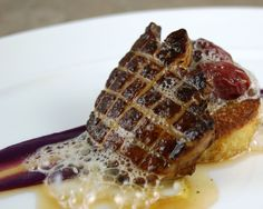 Pan Seared Foie Gras, Salted Grapes, French Toast, Vanilla-Maple Espuma