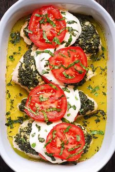 Jump to Recipe Print RecipeBasil Pesto Tomato Mozzarella Chicken Bake – low carb, gluten free recipe. Easy to make. Only one pan is needed. Just pile all the ingredients on top of the chicken breasts in a baking dish and bake everything in the oven. Once the chicken is cooked, you'll have lots of juices...Read More