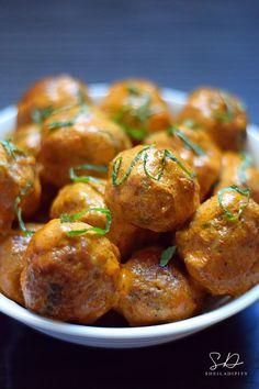 Crock-Pot Panang Curry Pork Meatballs.  Enjoy these meatballs served with Jasmine rice!