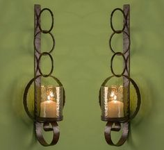 ME3005 - Bronze Iron Ring Wall Sconce, Set of 2 - Candle Holders