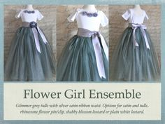 Dark grey lined tutu-- Flower Girl. This is a full tutu is lined with silver bridal satin.. $135.00, via Etsy.