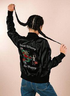 Don't Worry Satin Jacket (BLACK)