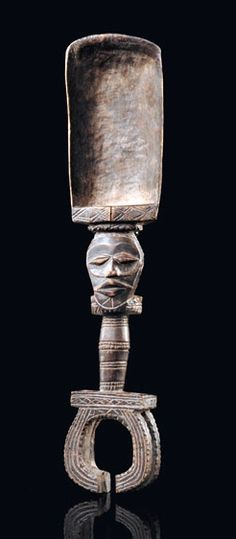 Africa | Ceremonial spoon from the Wobe people of Ivory Coast | Wood, with dark brown patina