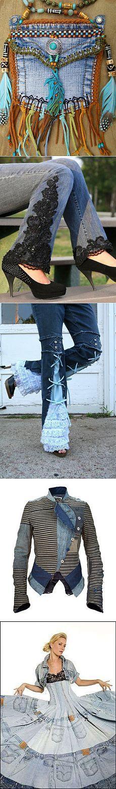 La nueva vida de pantalones vaqueros viejos. Traffic. Alteración / jeans…
