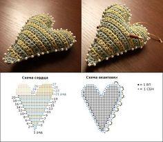 Crochet heart chart pattern