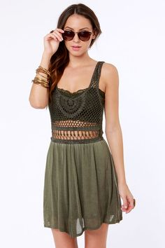 Lost Salton Dress - Crocheted Dress - Olive Green Dress - $62.00