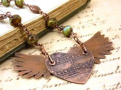 Flying Heart Necklace Winged Pendant Etched by ATwistOfWhimsy