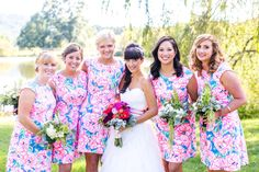 Lily Pulitzer bridesmaids dresses Photography: Stephanie Yonce Photography - stephanieyoncephotography.com  Read More: http://www.stylemepretty.com/mid-atlantic-weddings/2014/04/11/rustic-meets-preppy-north-carolina-wedding-at-claxton-farm/