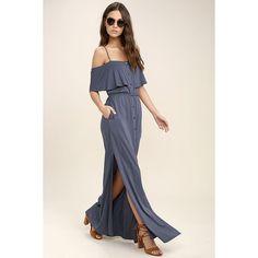 Life's Wonders Denim Blue Off-the-Shoulder Maxi Dress ($58) ❤ liked on Polyvore featuring dresses, blue, pink dress, side slit maxi skirt, long denim skirts, denim maxi skirt and denim dress