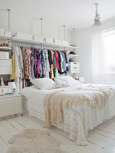 Creative Way To Create Exposed Closet Space. Good for small spaces! Apartment Design, Apartment Living, Apartment Therapy, Apartment Ideas, Apartment Layout, Apartment Bedrooms, York Apartment, Studio Apartment Storage, Studio Apartment Furniture